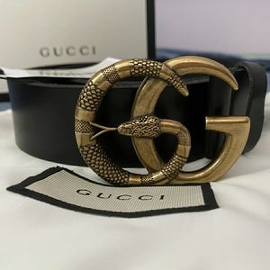 GUCCI BLACK SNAKE GG BELT
